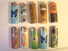 Set of 10 Bic Retro Art and Photo Lighters Working Butterfly Beer Fish Etc