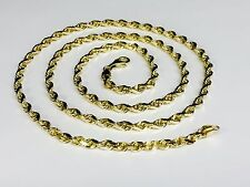 """14k SOLID Yellow Gold Diamond Cut ROPE Link Chain/Necklace 28"""" 5MM 35 grm (R035)"""