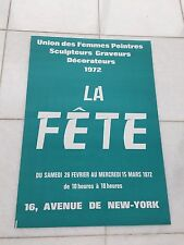 Vintage French Advertising Poster 1972 Paris La  Fete Union Des Femmes Peintres