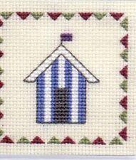 "Textile Heritage Cross Stitch Coaster Kit ""Beach Huts (Blue Stripe)"""