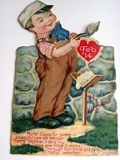 Vintage Antique Mechanical Valentine w/ Boy Building Stone Wall w/ Cement *