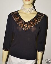 JOSEPH A. WOMEN'S LADIES KNIT SWEATER TOP WITH BEADS SIZE L LARGE  12/14