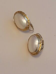 Mabe Pearl 14kt Leverback Earrings 14kt Gold Gallery Mountings 14x10 Mabe Pearl
