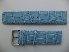 22mm Genuine Leather Watch Strap Light Blue Alligator - Crocodile Grain