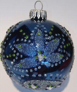 """KREBS-GLAS Lauscha """" Eine Weihnachtskugel Ø 8 cm Dunkelblau - Silber"""