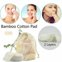 12PCS Reusable Bamboo Cotton Make Up Remover Pads Skin Care Cleansing Soft Pad