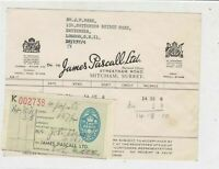 James Pascall Ltd HM Appointed 1955 Confectionary Sweets Stamp Receipt Ref 32714