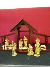 "Vintage Anri Kuolt Hand Carved Wooden Nativity Set Rare 13 Pieces 6"" set"
