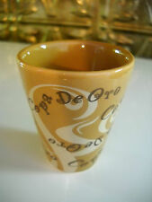 "Copa De Oro Liquor Whiskey 2 1/4"" Tall Brown Tan White Ceramic Shot Glass"
