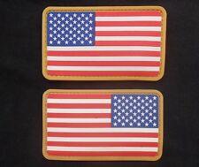 USA AMERICAN FLAG RUBBER PVC LEFT RIGHT REVERSE SHOULDER COLOR VELCRO® 2 PATCH