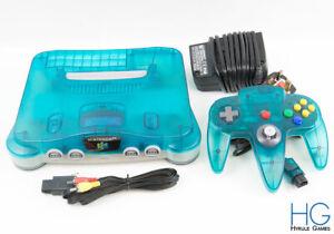 Nintendo 64 N64 Clear Blue / Clear White Console & Controller Bundle! PAL