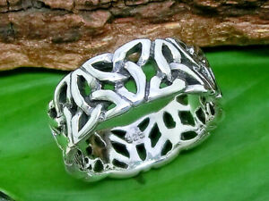 Triquetra Triskele 925 Sterling Silber Ring Band Ring keltischer Knoten