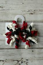 NWT Gymboree Holiday Friends red black & ivory curly ribbon barrettes Christmas
