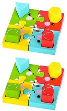 2 x Fisher Price Wooden Elephant Jigsaw Puzzle with Shape Sorter 18mths+ NEW