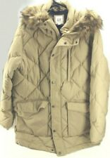 GAP Men's Khaki Hooded Quilted Winter Parka Jacket with Faux-Fur Trim size XL