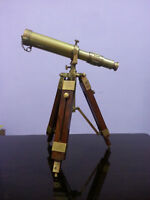 Vintage Desk Telescope Decor Solid Brass Nautical Telescope With Wooden Tripod