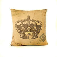 """ROYAL CROWN PRINT COLOR LINEN PILLOW COVER BURLAP 18""""x18"""" TAPESTRY THROW VINTAGE"""