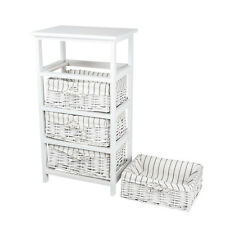 2× Wooden Bedside Tables Cabinet With 4 Wicker Drawers Nightstands Bedroom Chic