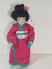 "Vintage JAPANESE Geisha Girl DOLL Figurine  Porcelain Cloth Asian 10"" Red Kimono"