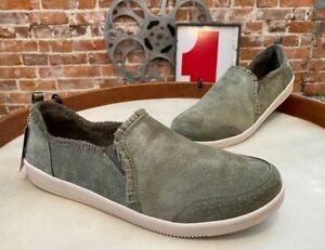 Skechers Olive Green Suede Ruffle Slip-On Shoes Madison Ave Plushed New