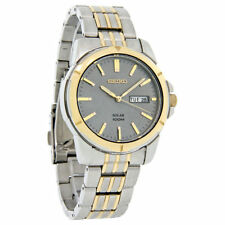 Seiko SNE098 Men's Solar Charcoal Dial Two-Tone Stainless Steel Dress Watch