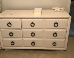 Robsjohn-Gibbings Widdicomb White Lacquer Chest Of Drawers/Dresser Brass Pulls