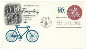 2 '80 FDCs Bicycling 15c Embossed Stamped Envelope w/ArtCraft SC#U597