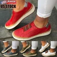 Womens Slip On Trainers Sneakers Pumps Ladies Breathable Flat Loafers Shoes Size