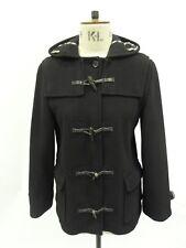 Aquascutum Women's Daisy Short Wool Duffle Coat in Black Colour - Size XL