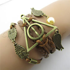 Alloy Harry Potter Deathly Hallows Snitch Owl Brown Synthetic Leather Bracelet
