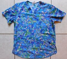 Cherokee Scrub Top / Size Small / Blue Leaves 100% Polyester