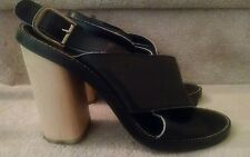 "Chloe 4.5""  Slingback Black Leather Block Heel Strappy Sandal, Size 40"