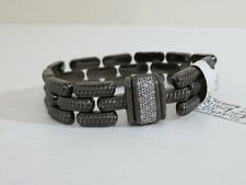 JUDITH RIPKA  BLACK  PLATED STAMPATO MAGNET CLASP BRACELET NEW SMALL 6 1/2