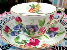 RARE HAMMERSLEY MUSTACHE TEA CUP AND SAUCER SWEET PEA  MOUSTACHE CUP