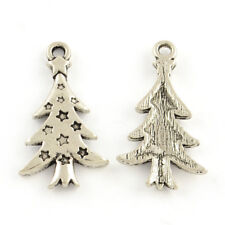 20 Christmas Tree Charms Pendants 26mm Antique Silver Tone P00101n