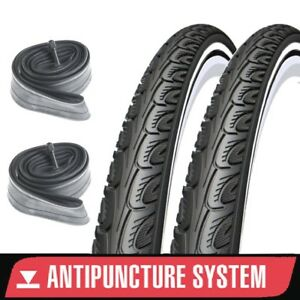 2x Anti Puncture 27 x 1 1/4 Inch Retro Road Bike Tyres + Tubes - 32 630 tyre