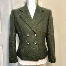 Albert Nipon Wool Blend Women's Blazer - Size 6 - Green V-Neck Lined
