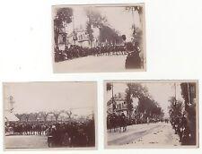 Paris défilé militaire Lot de 3 photos amateur Papier citrate ca 1900