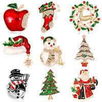 Esmalte de Navidad árbol Bell ciervos muñeco de nieve broche de cristal partido
