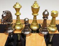 ITALFAMA BRASS CLASSIC METAL GOLD SILVER COLOR STAUNTON Chess Men Set - NO BOARD