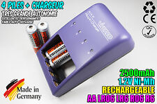 CHARGEUR VIVANCO CHARGER + 4 PILES ACCUS RECHARGEABLE NI-MH 1.2V AA 2500MAH LR06