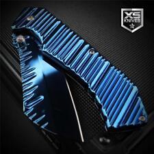 "Blue Titanium Plasma RIPPLE Cleaver Tanto Spring Assisted Pocket Knife 7.75"""