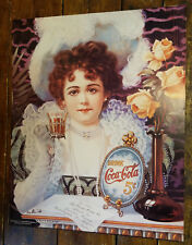 1890s COCA COLA GIRL FANCY DRESS HAT PEARLS 5 CENTS COKE GLASS PAPER POSTER SIGN