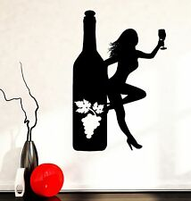 Wall Decal Naked Girl Bottle Of Wine Vine Bar Vinyl Sticker (z3597)