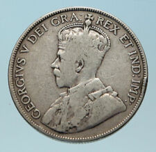 1917 CANADA UK King George V Antique Genuine Crown SILVER 50 CENTS Coin i83886