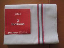 TORCHONS EN COTON, LOT DE 3 UNITES