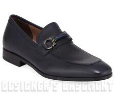 SALVATORE FERRAGAMO blue 13E BENFORD Gancini Buckle loafer shoes NIB Authen $660