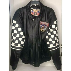 Rare 1998 Jeff Hamilton NASCAR Black Leather Bomber Jacket 50th Anniversary Car Racing Zippered Coat Black White Checkered Sleeves Mens XL