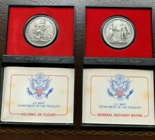 2 Lot Set of AMERICA'S FIRST MEDALS COLONEL DE FLEURY & Gen ANTHONY WAYNE Pewter