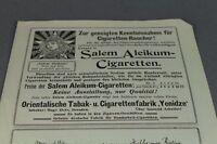 Salem Aleikum Cigaretten + Harmoniums  - Jugendstil Papier Reklame ~1900   /S127
